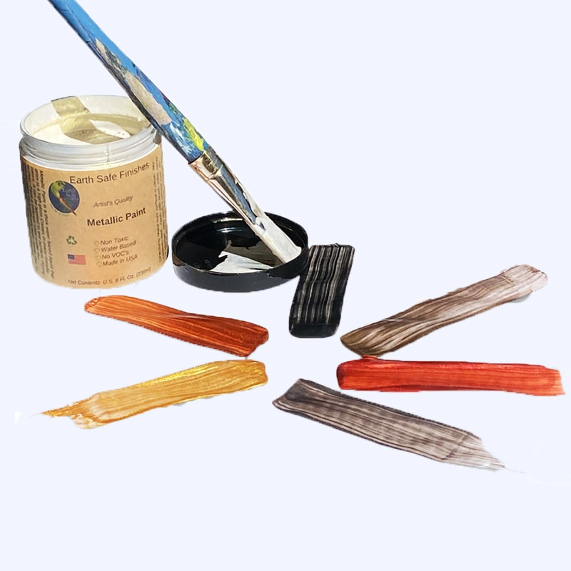 Non-toxic metallic paints by Earth Safe Finishes.